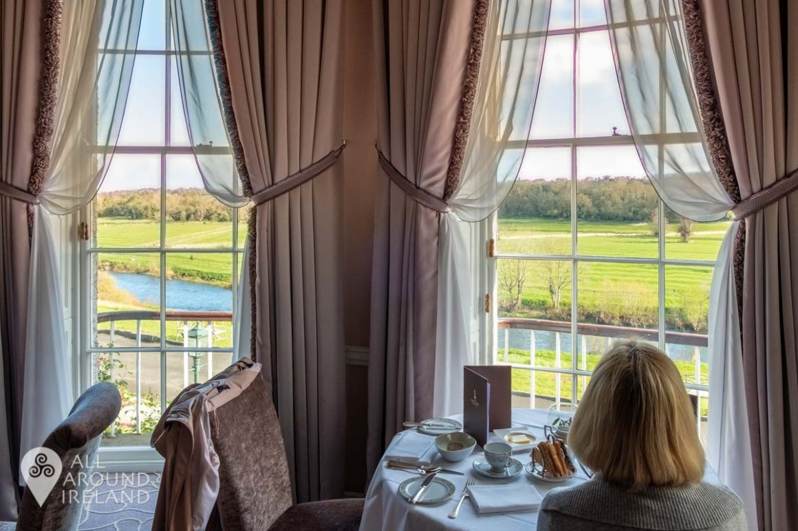 Views across the Nore to Ballylinch Stud from the Lady Helen Restaurant at Mount Juliet