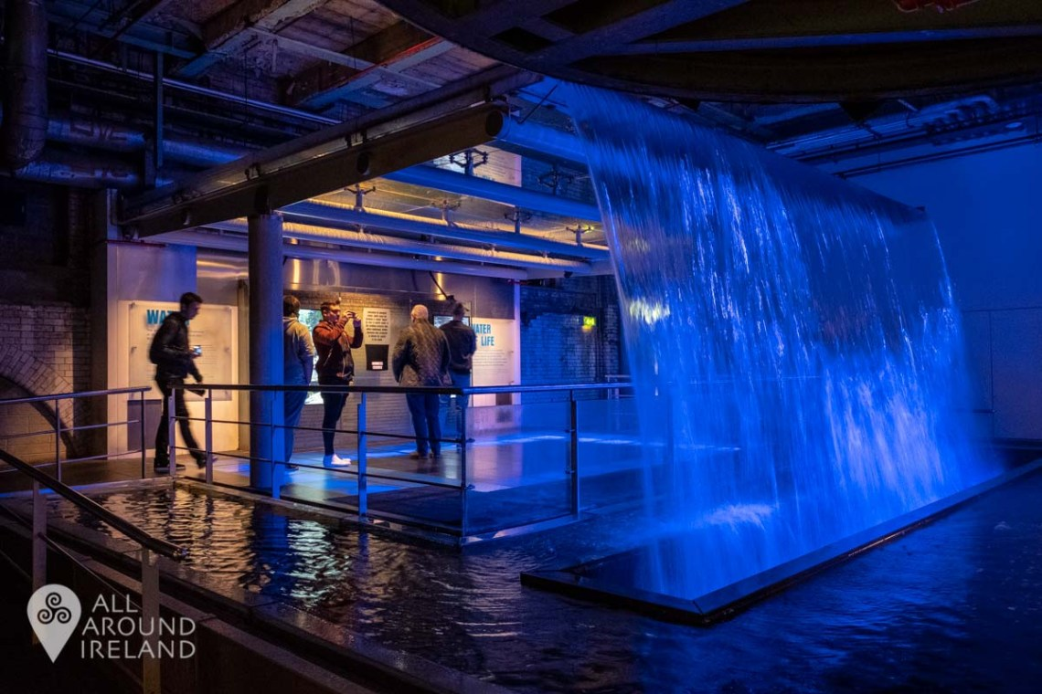 Cascading waterfall inside the Guinness Storehouse in Dublin