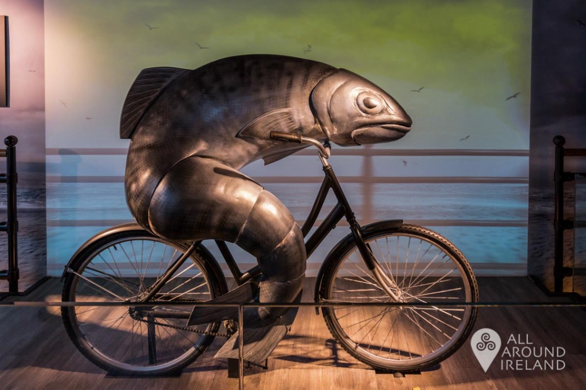 A fish cycling a bike in the advertising section