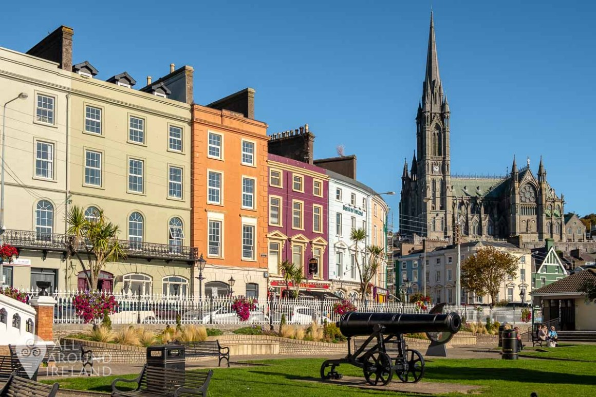 View towards Cobh town centre and Cathedral from John F Kennedy Park