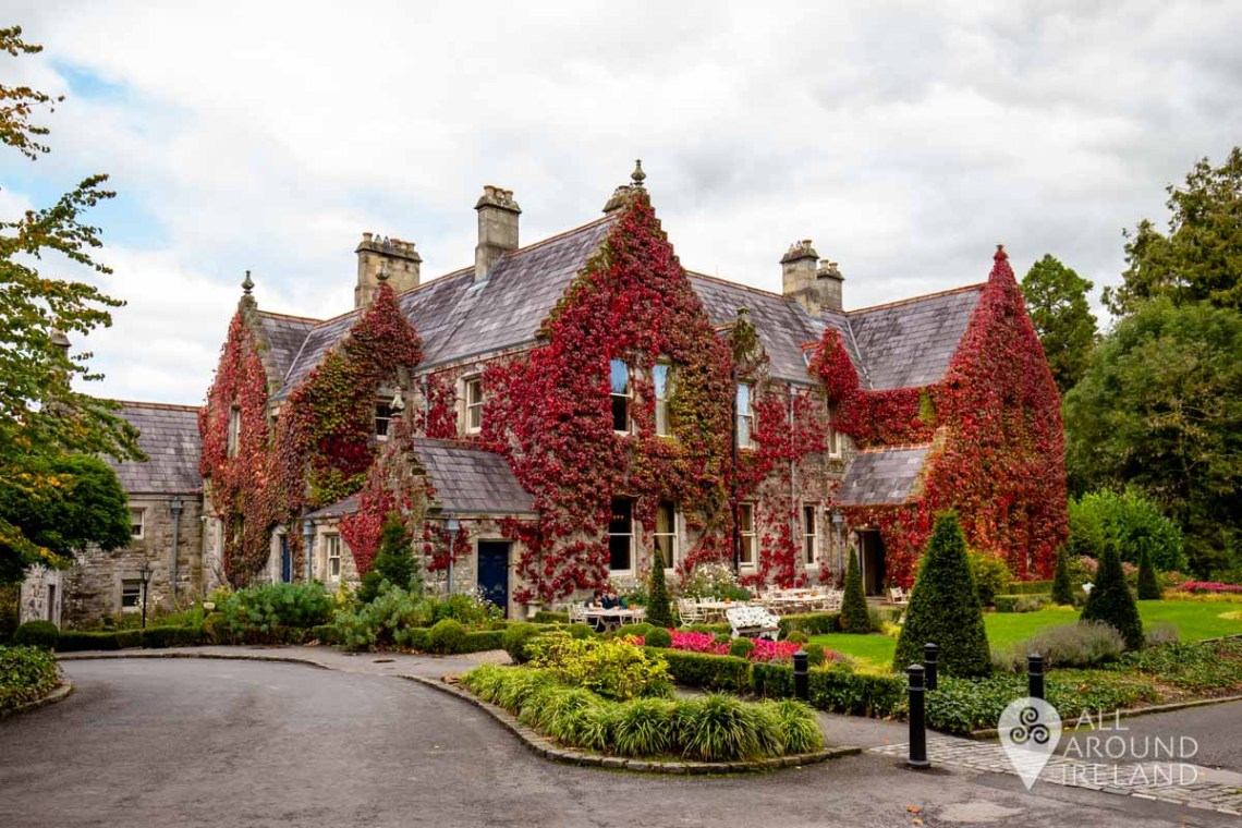 The Lodge at Castle Leslie Estate on an overcast day. Beautiful red ivy covers the building.