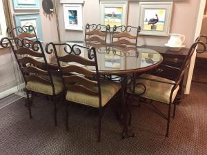 Wood table with 6 chairs and glass top