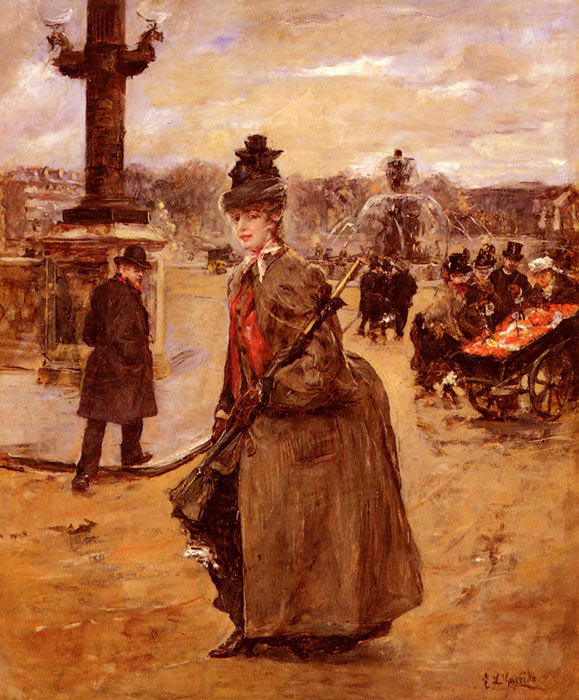 Paintings Reproductions Garrido, Eduardo Leon Elegante, Place De La Concorde, Paris
