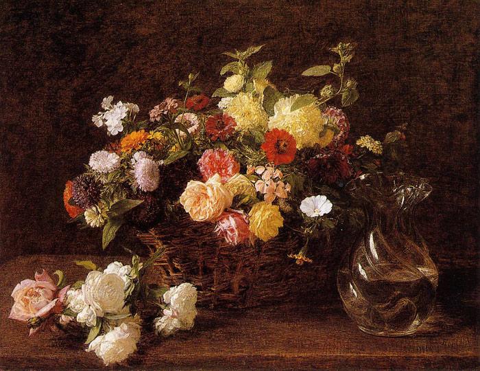 Paintings Reproductions Fantin-Latour, Ignace-Henri- Theodore Basket of Flowers, 1892