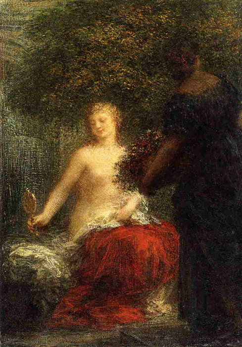 Paintings Reproductions Fantin-Latour, Ignace-Henri- Theodore Woman at Her Toillette, 1898