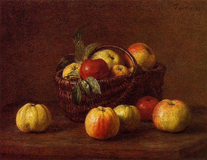 Paintings Reproductions Fantin-Latour, Ignace-Henri- Theodore Apples in a Basket on a Table, , 1888