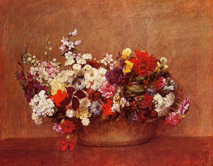 Paintings Reproductions Fantin-Latour, Ignace-Henri- Theodore Flowers in a Bowl, 1886