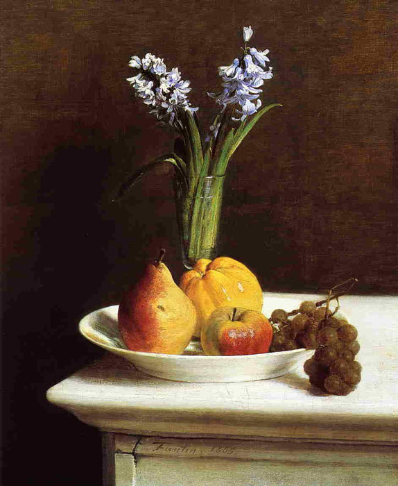 Paintings Reproductions Fantin-Latour, Ignace-Henri- Theodore Still Life, Hyacinths and Fruit, 1865