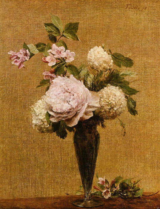 Paintings Reproductions Fantin-Latour, Ignace-Henri- Theodore Vase of Peonies and Snowballs, 1878