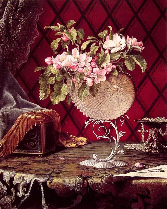 Paintings Reproductions Heade, Martin Johnson Still Life with Apple Blossoms in a Nautilus Shell, 1870