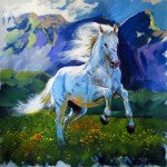 Art Reproductions And Original Oil Paintings Landscapes White Horse Painting White Horse In A Landscape Lipizzaner Stallion March 2014