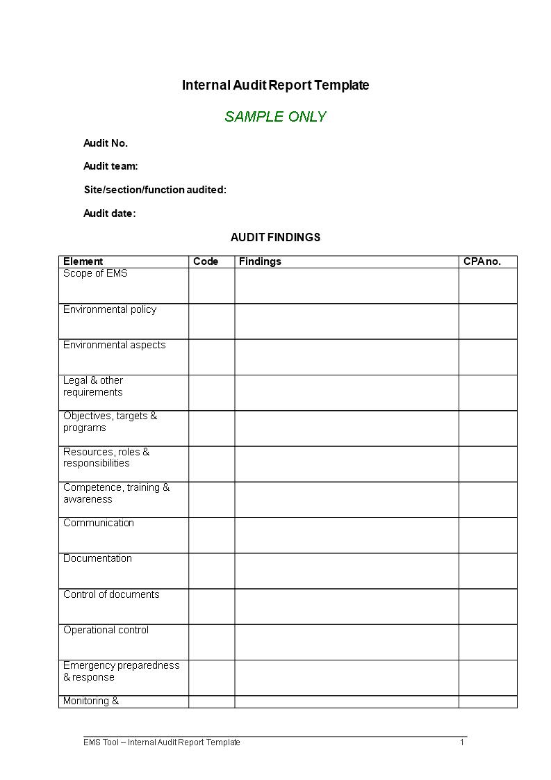 Internal Audit Report | Templates at allbusinesstemplates.com