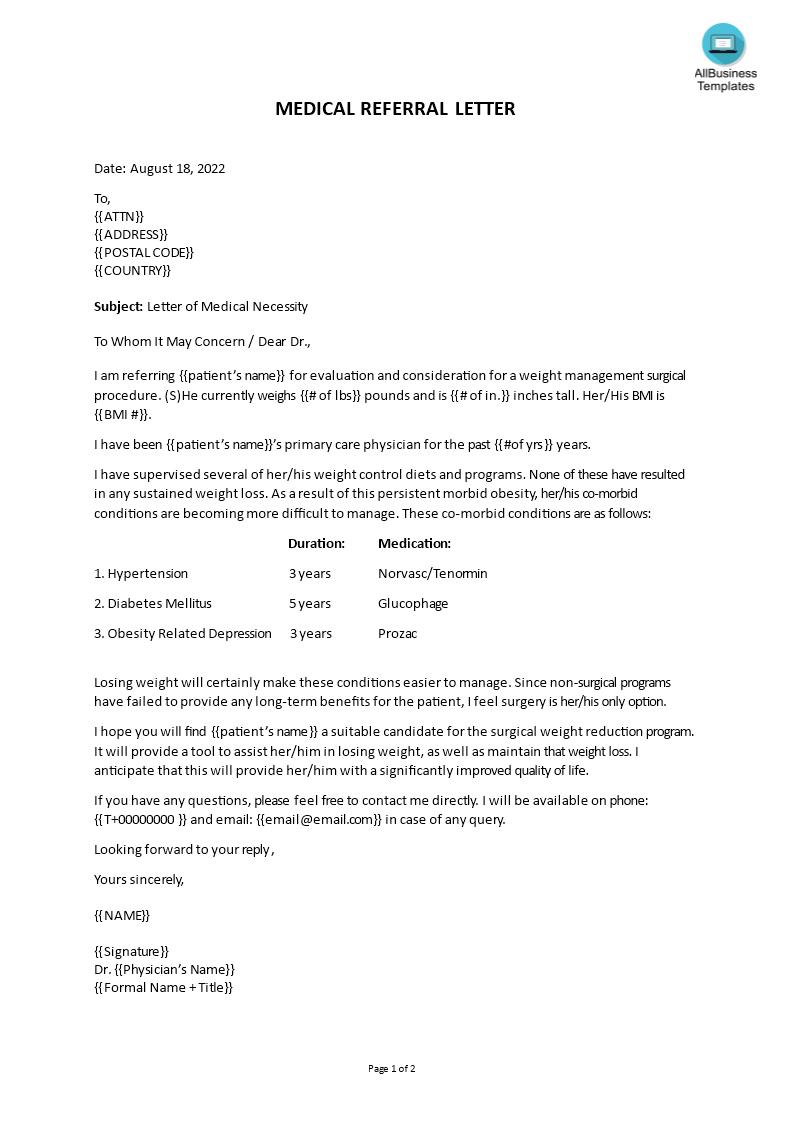 Medical Referral Letter Templates At Allbusinesstemplates Com