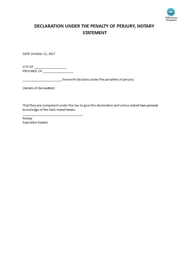Declaration Under The Penalty Of Perjury, Notary Statement
