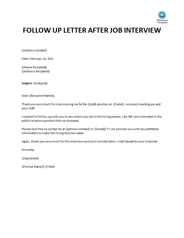 Sample Follow Up Email After Interview  Templates at