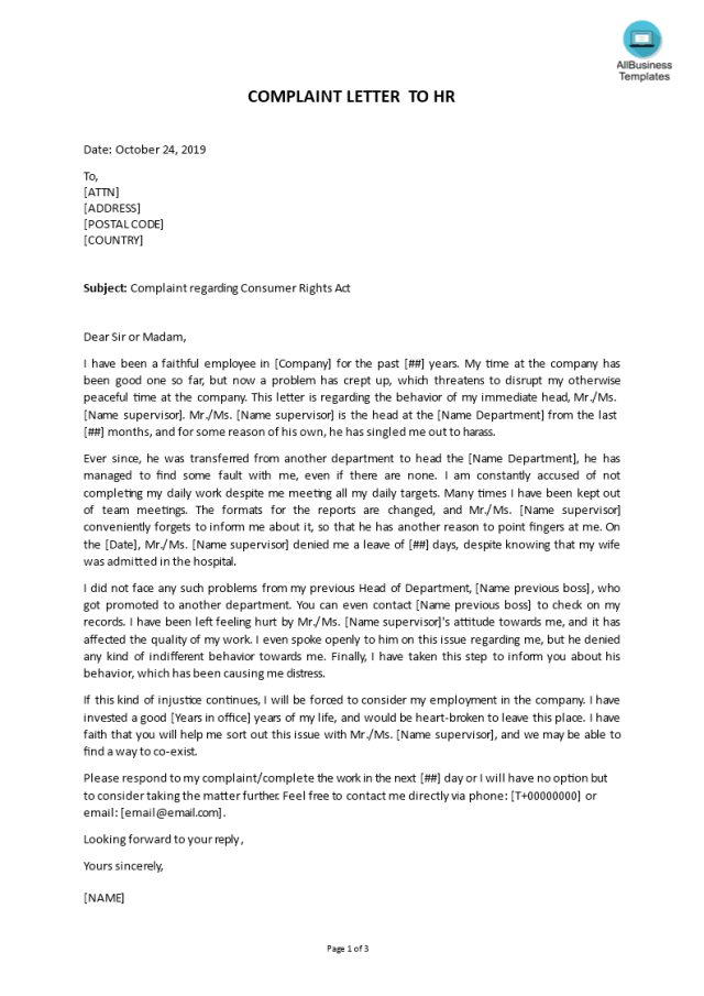 Kostenloses Complaint letter about Boss to HR department