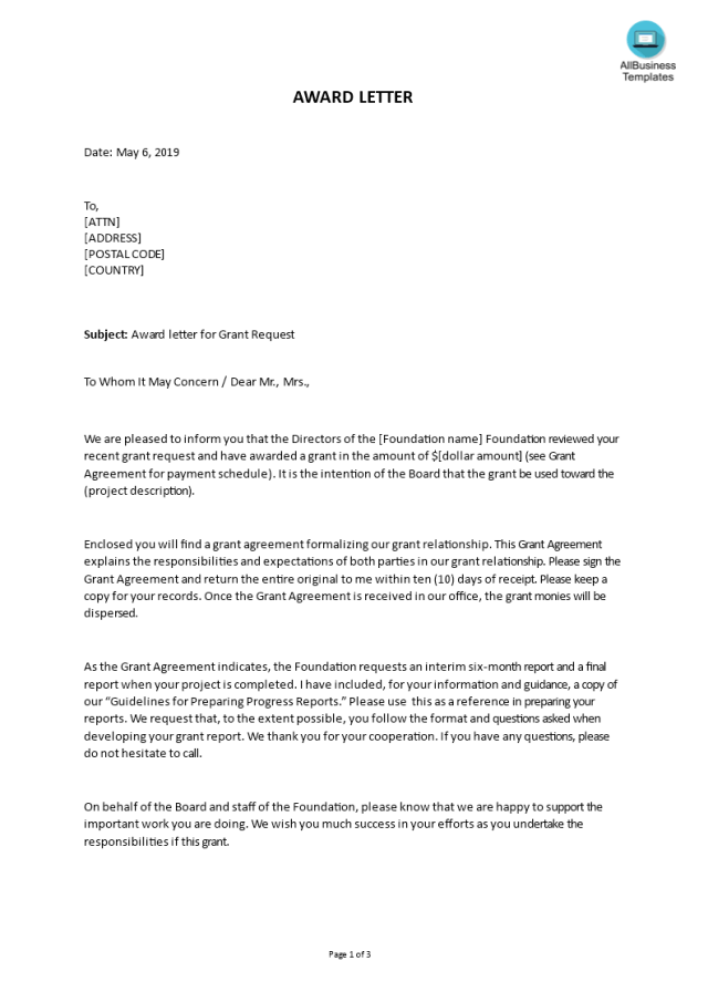 Kostenloses Award letter for Grant Request