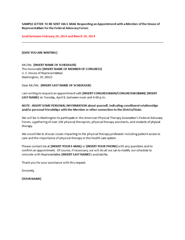 Kostenloses House Sample Appointment Request Letter