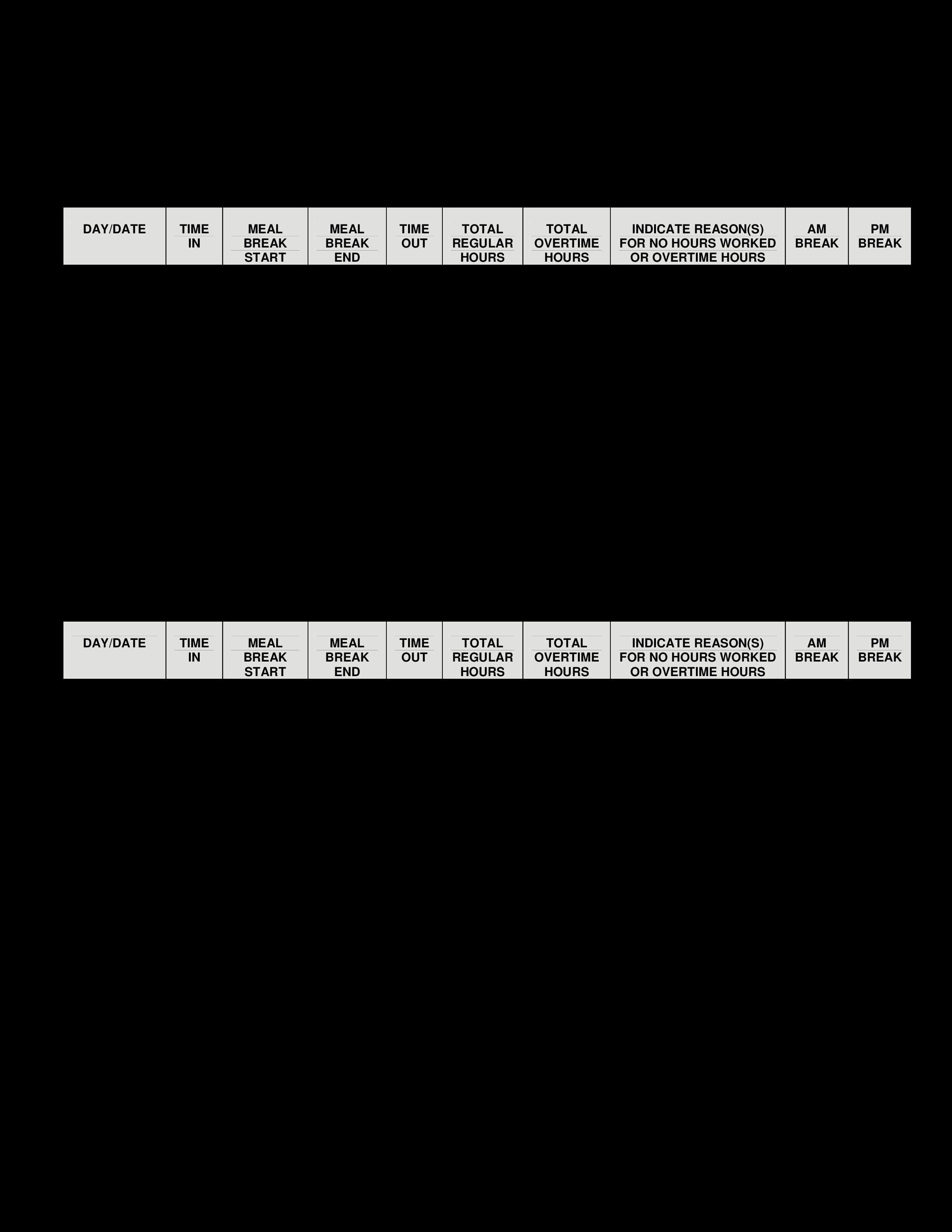 Bi Weekly Time Sheet