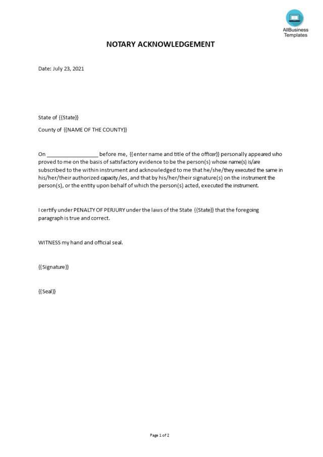 免费Sample of a Notary Acknowledgement  样本文件在