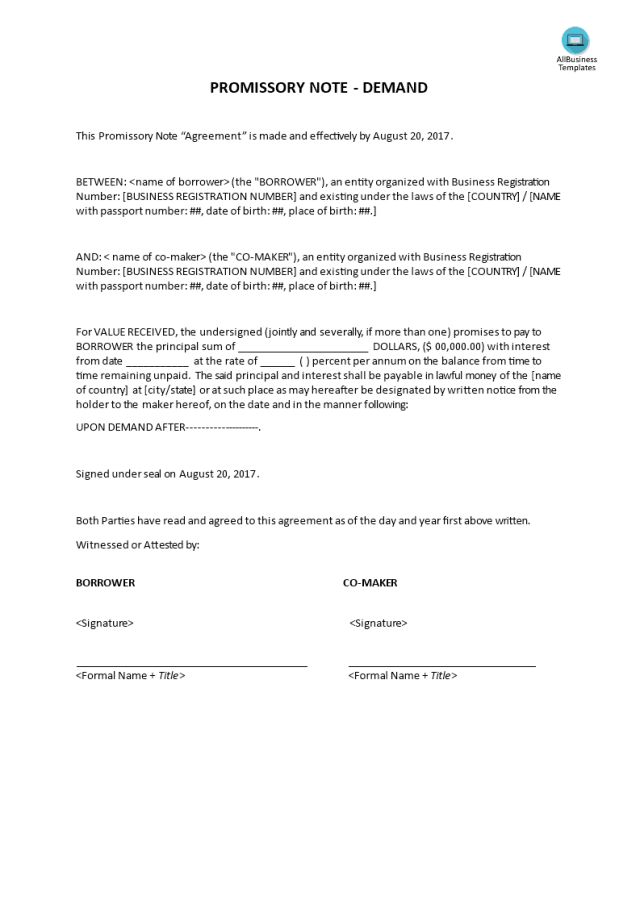 高级Promissory Note - Demand  样本文件在allbusinesstemplates.com