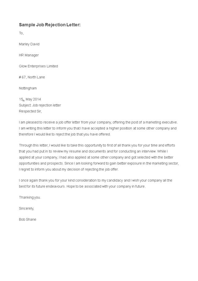 Kostenloses Rejection Letter for Job application