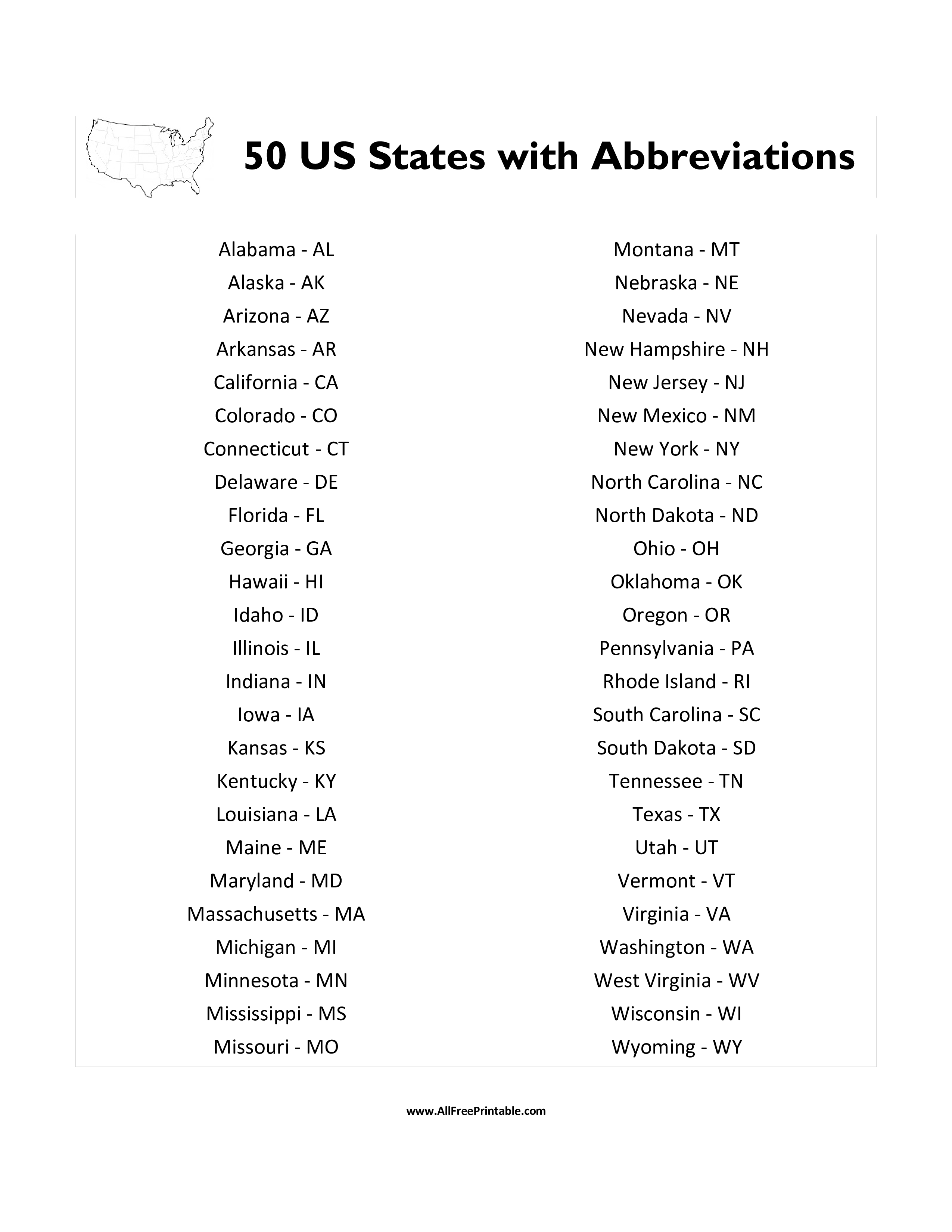 50 Us States With Abbreviations List