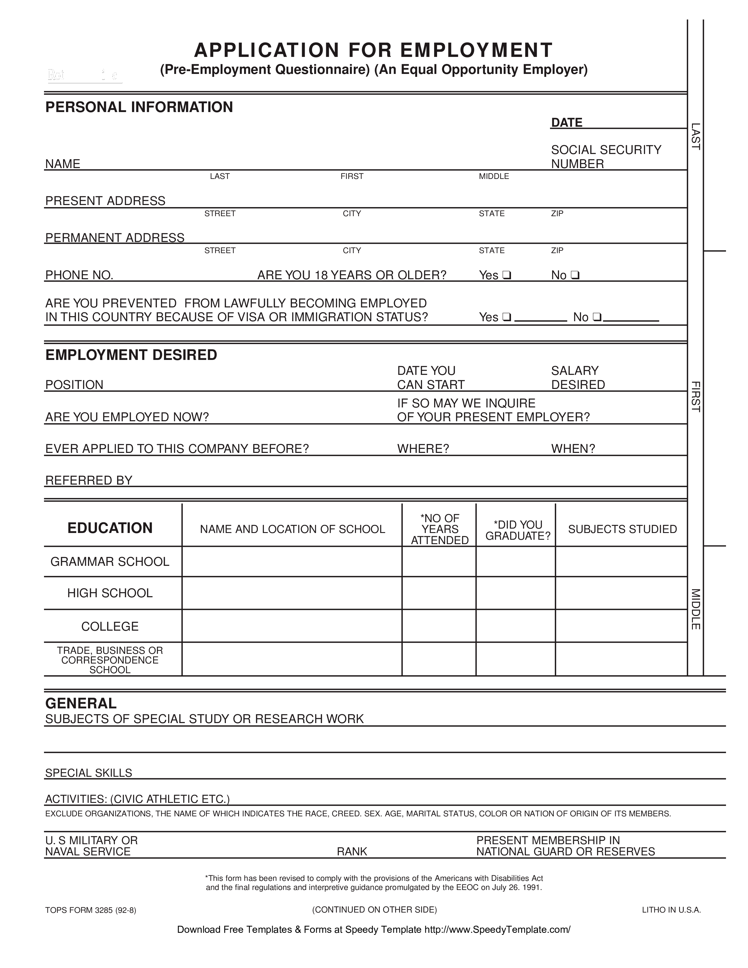 Free Blank Employment Application Form Sample