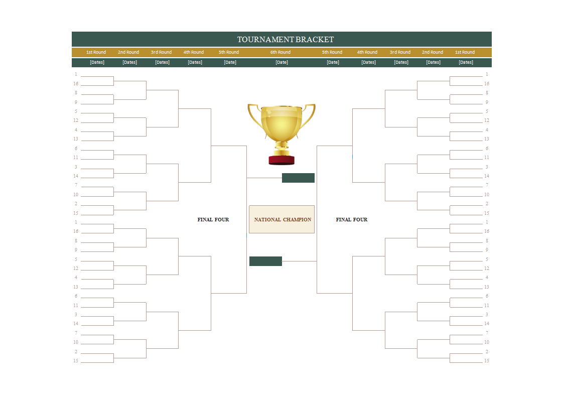 Sample Excel Templates Brackets For Tournaments Excel