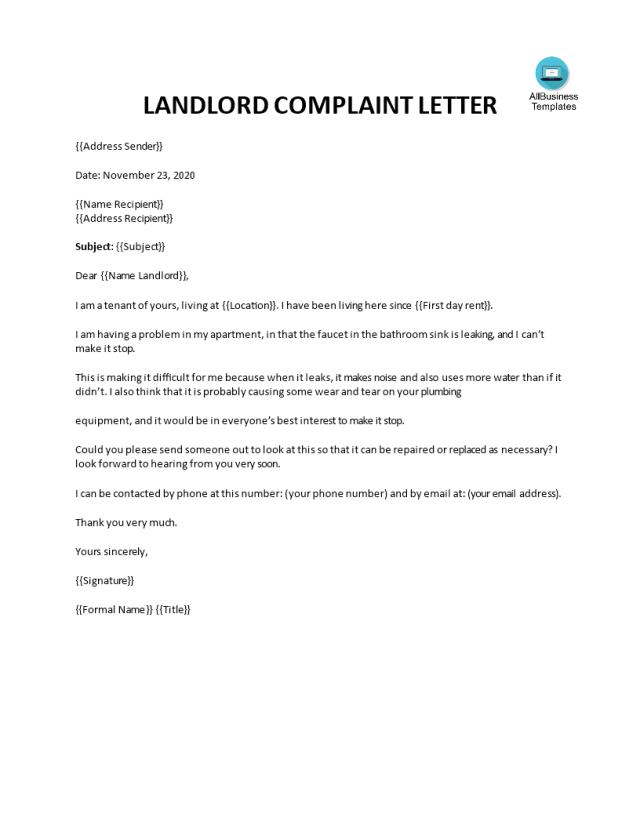 Landlord Complaint Letter  Templates at allbusinesstemplates.com