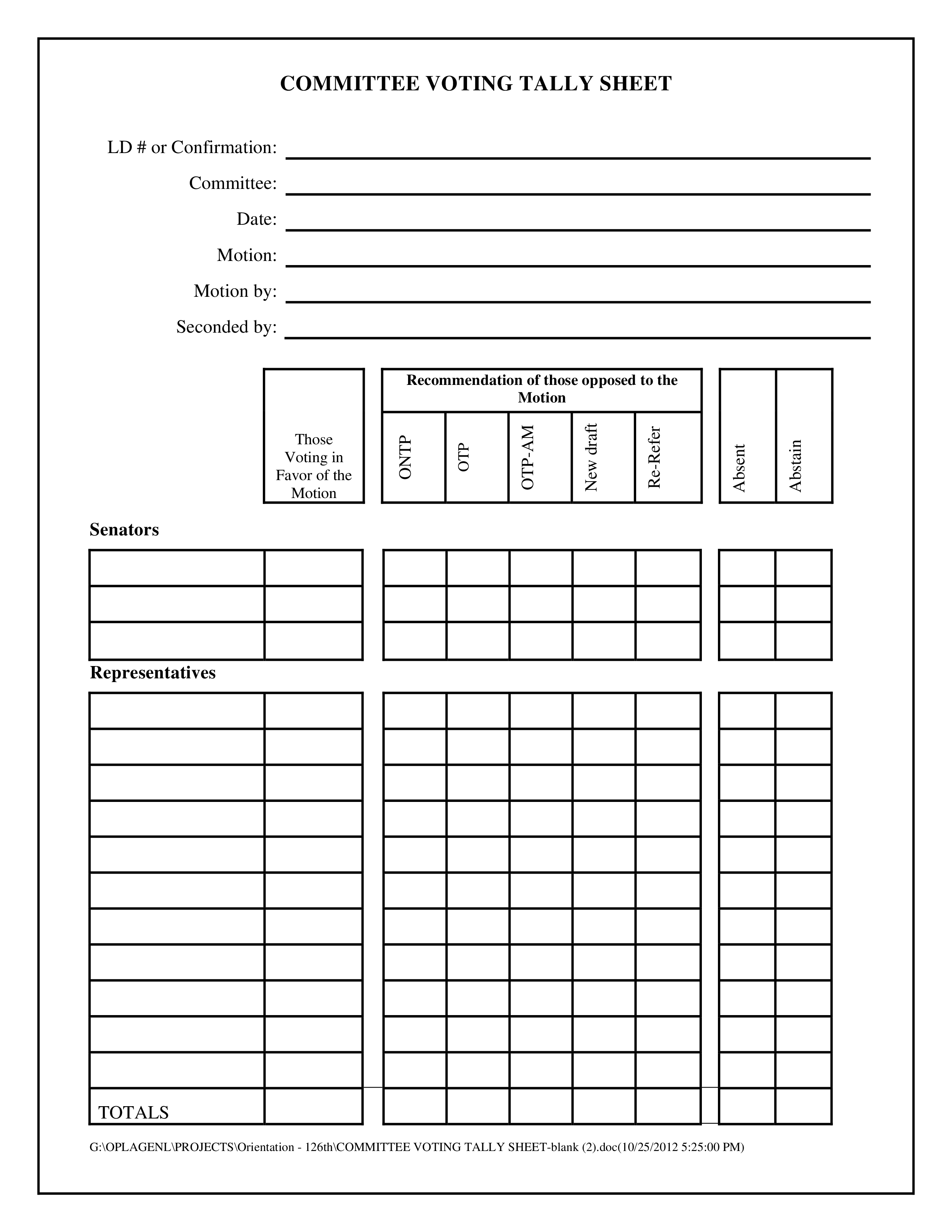 Paddlereport Tally Sheet Printable