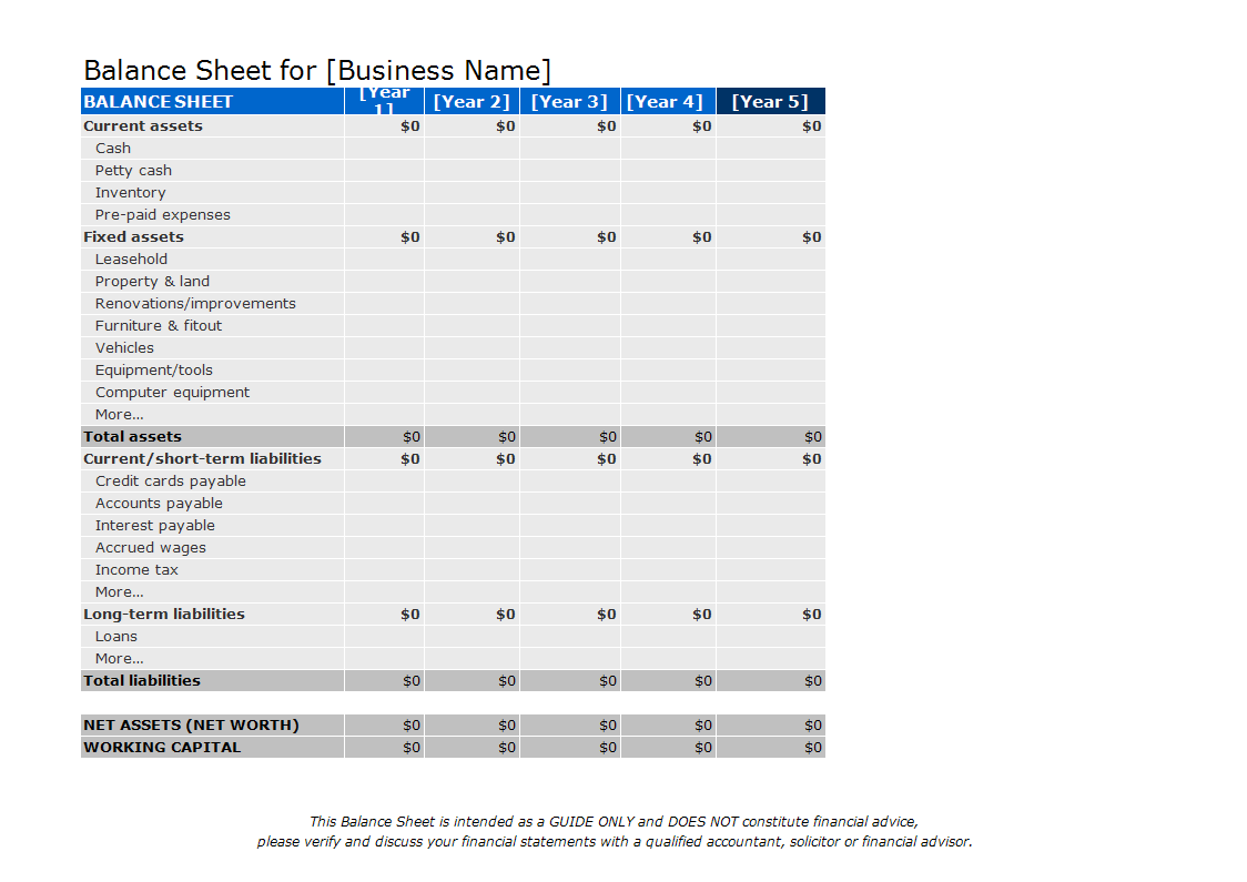 Balance Sheet Excel Template Example