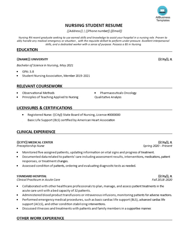 Kostenloses Nursing Student Resume