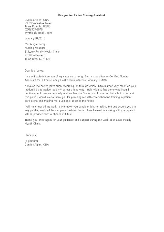 Kostenloses Resignation Letter Nursing Assistant