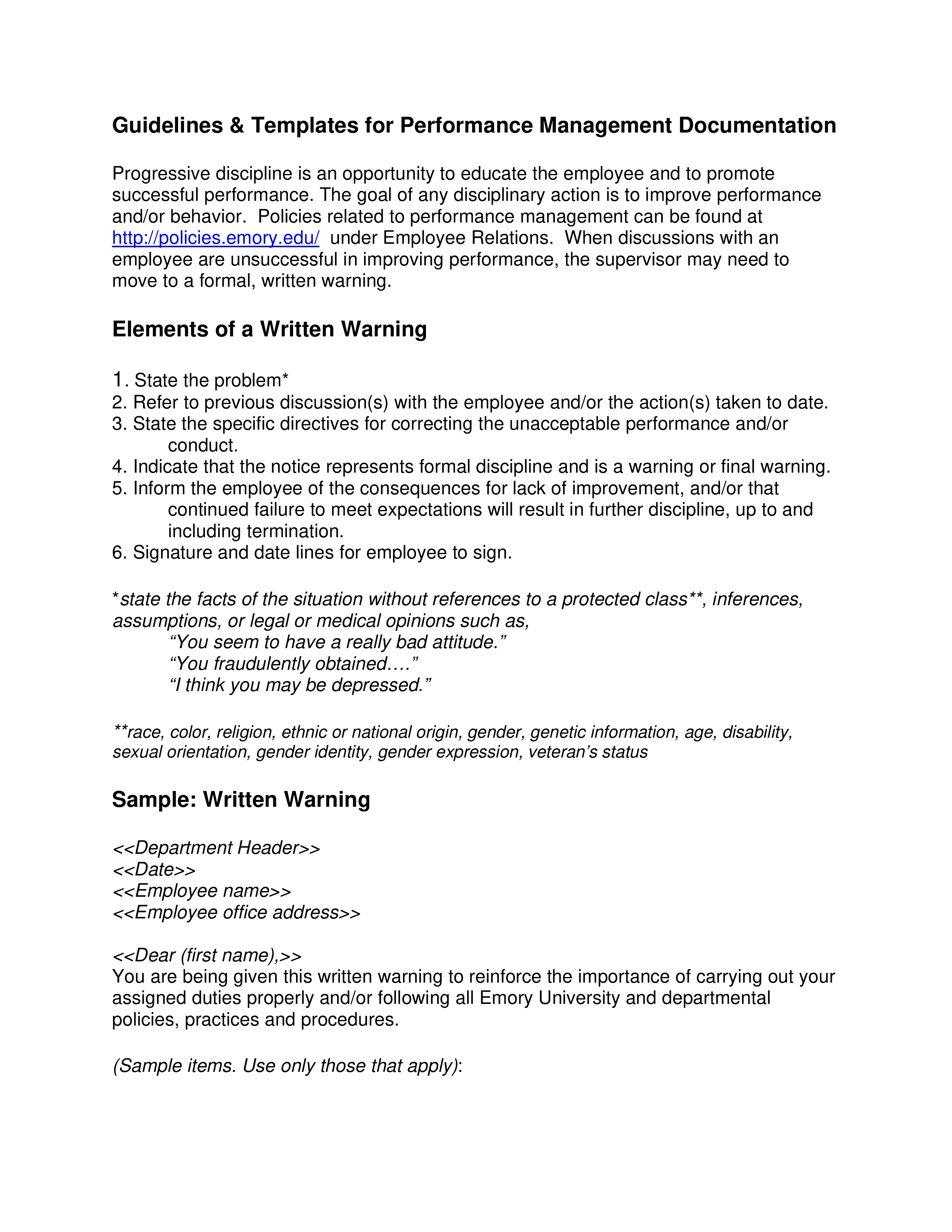 Behavior Warning Letter To Employee Templates At