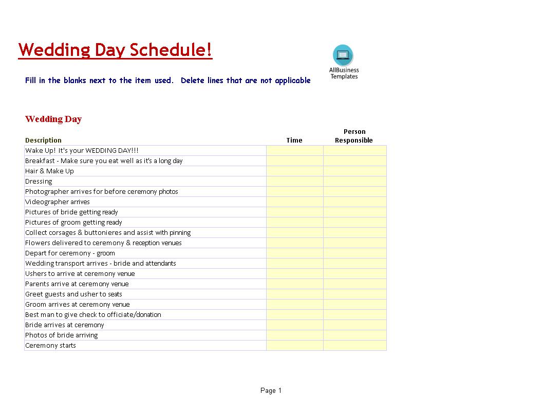 Wedding Day Schedule Template