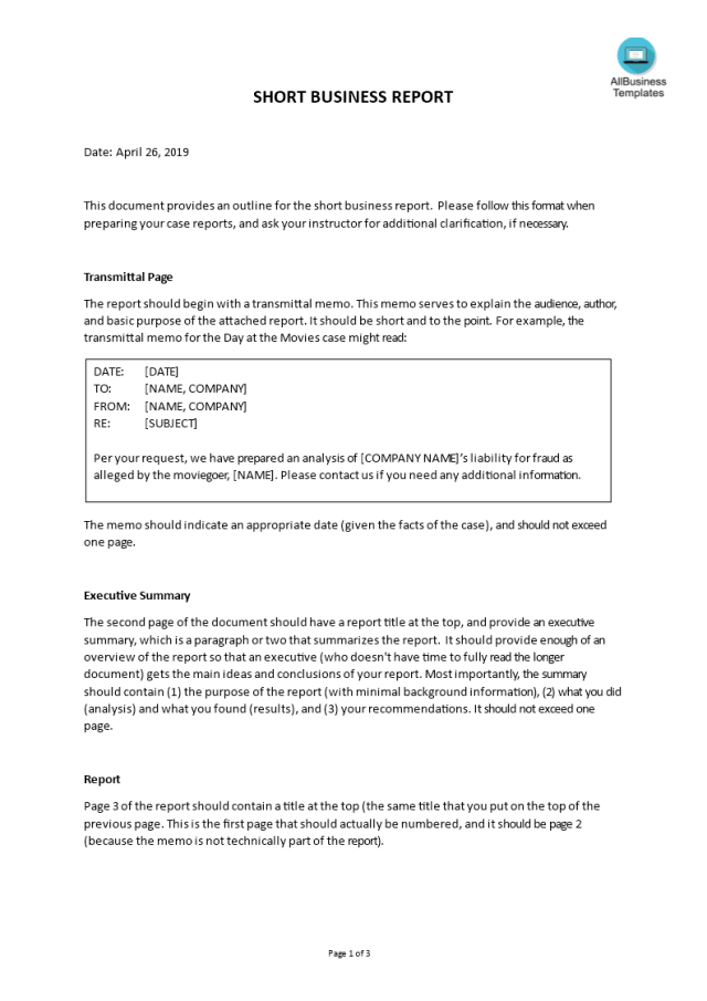 Kostenloses Short Business Report Example