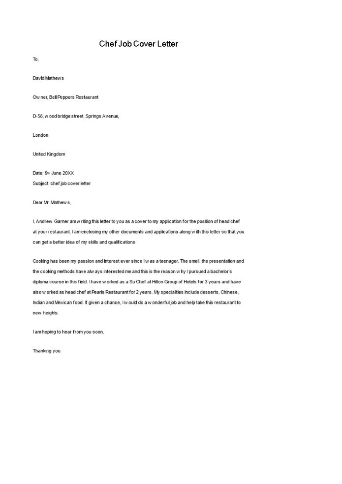 Chef Job Cover Letter Templates At Allbusinesstemplates Com