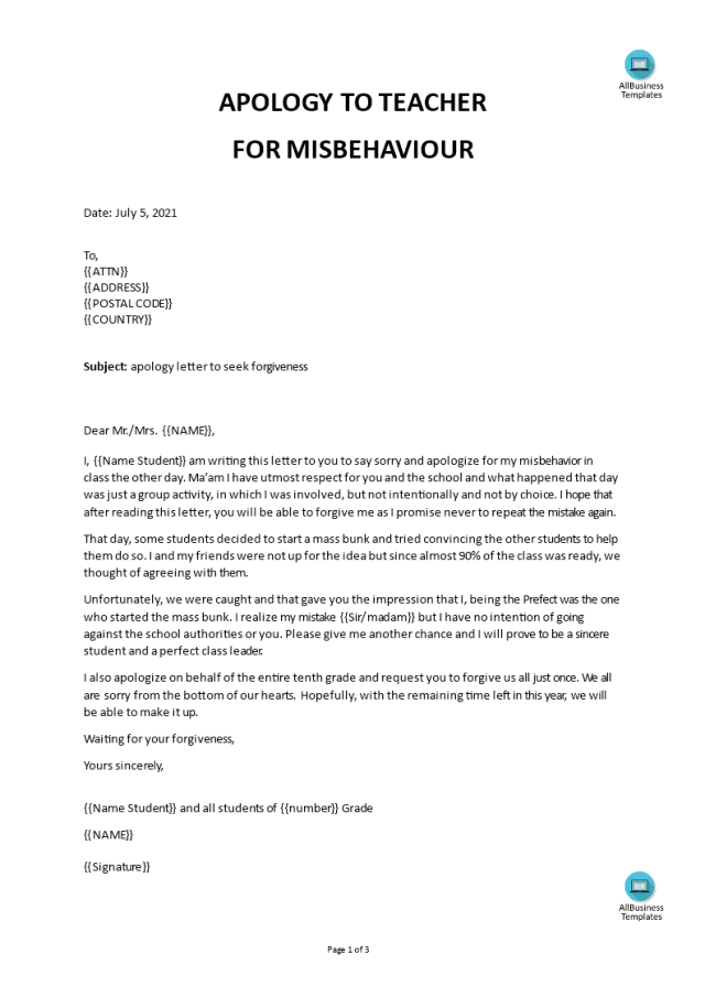 Apology Letter to Teacher template  Templates at