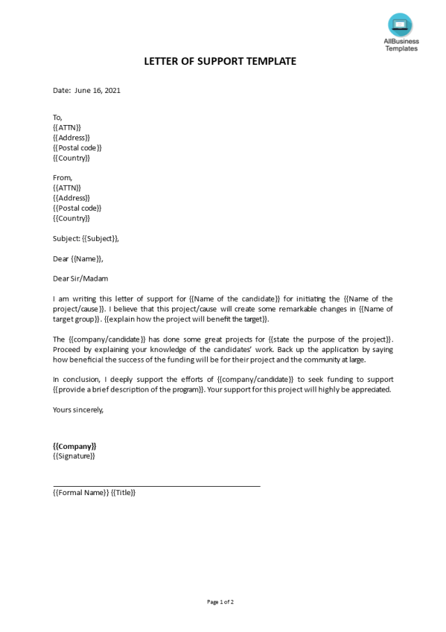 Kostenloses Letter of Support template