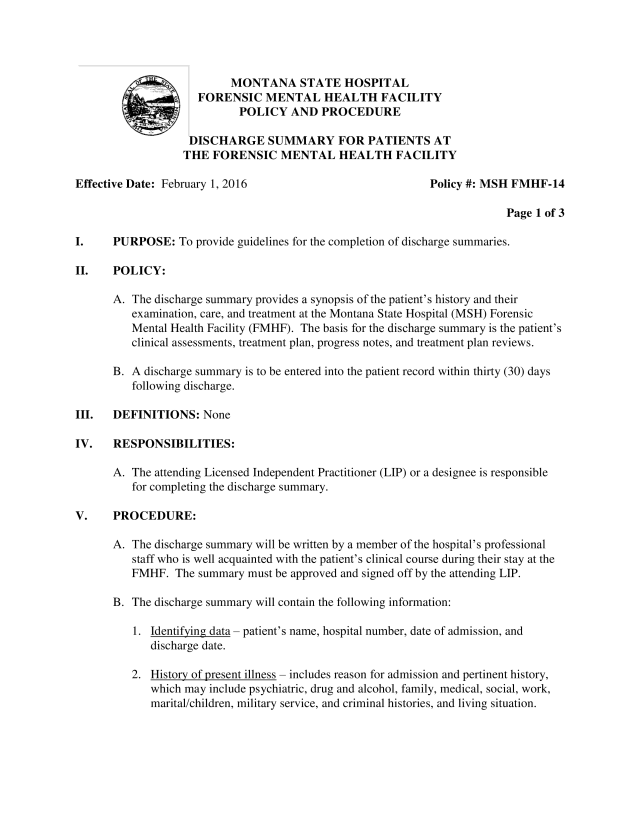 Psychiatric Facility Discharge Summary  Templates at
