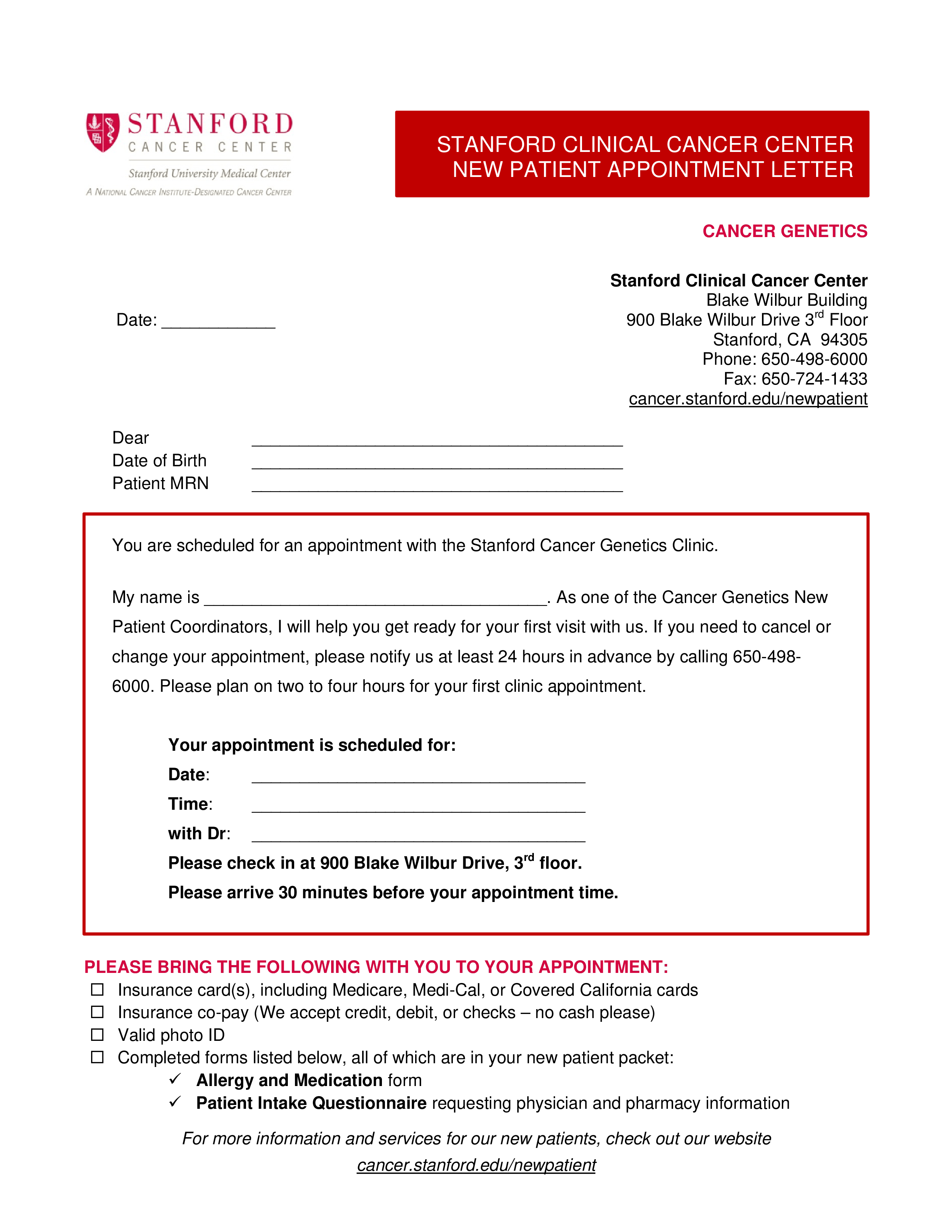 Doctor Appointment Letter To Patient