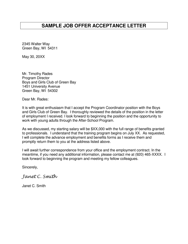 Kostenloses Sample Acceptance Of Employment Offer Letter