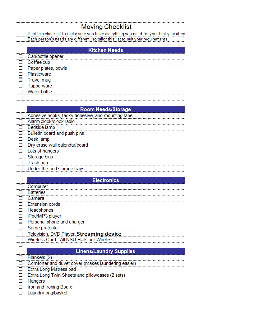 Moving House Checklist In Excel Templates At