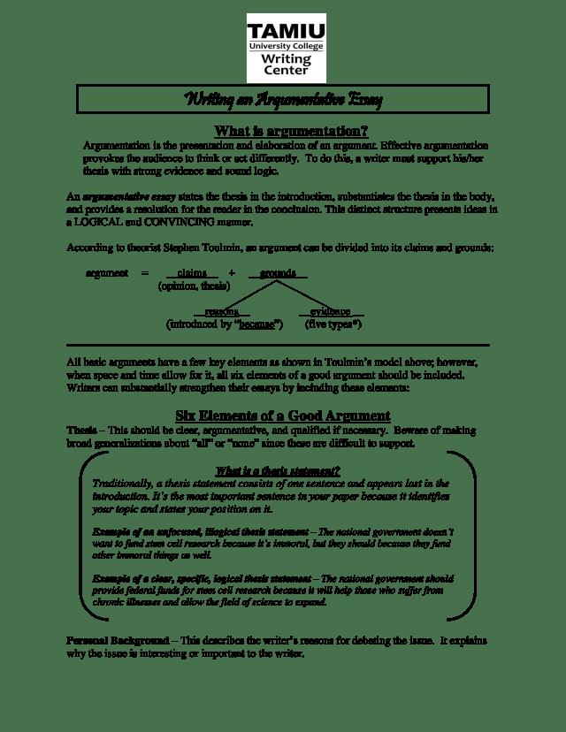 Kostenloses Writing Argumentative Essay