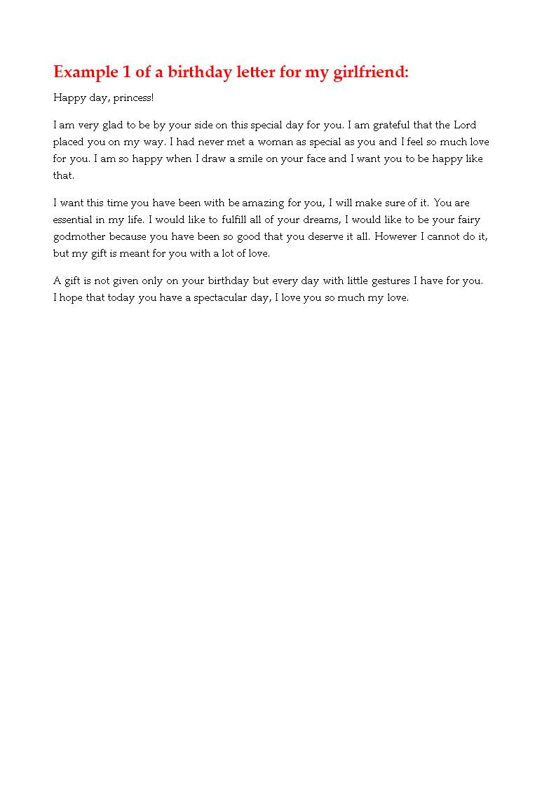 免费birthday Love Letter For Girlfriend 样本文件在allbusinesstemplates Com