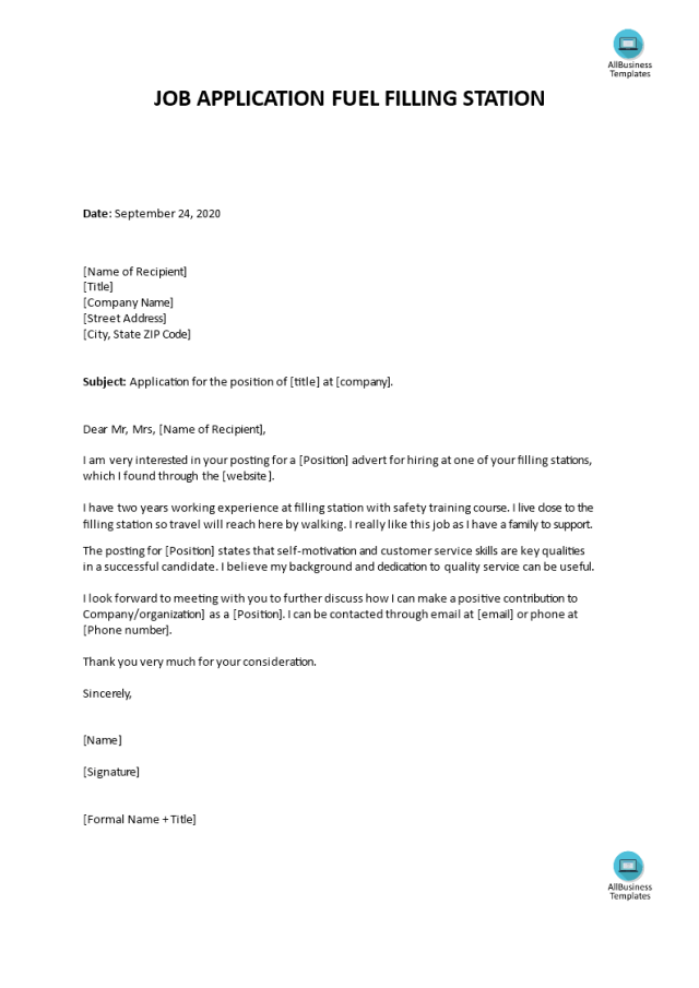 Job Application letter for Fuel Attendant  Templates at