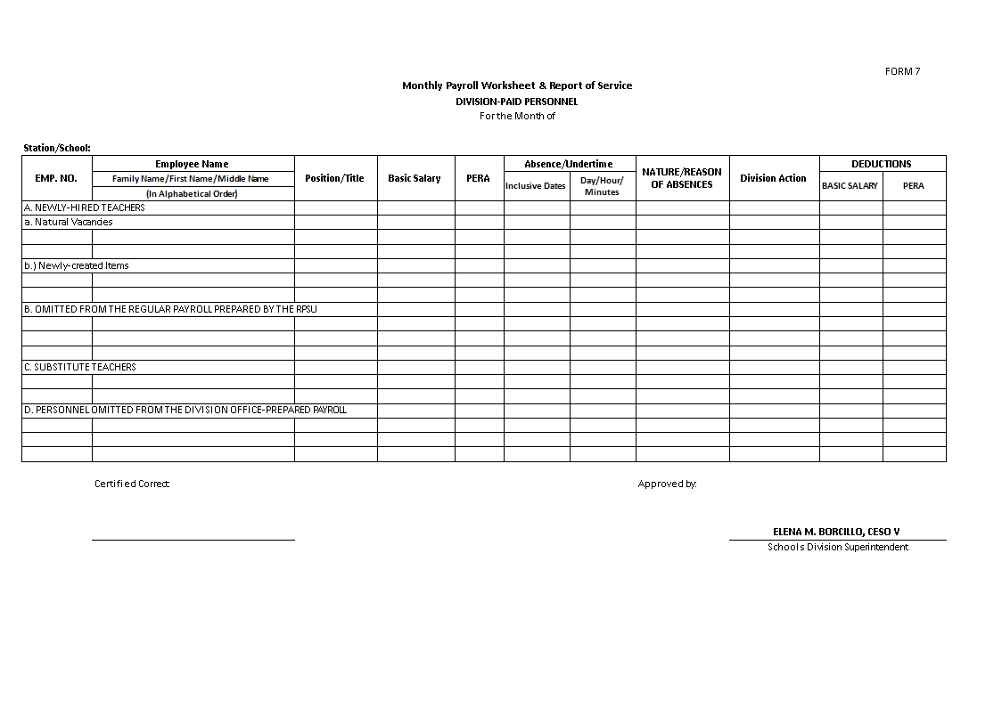 Payroll Template Sample