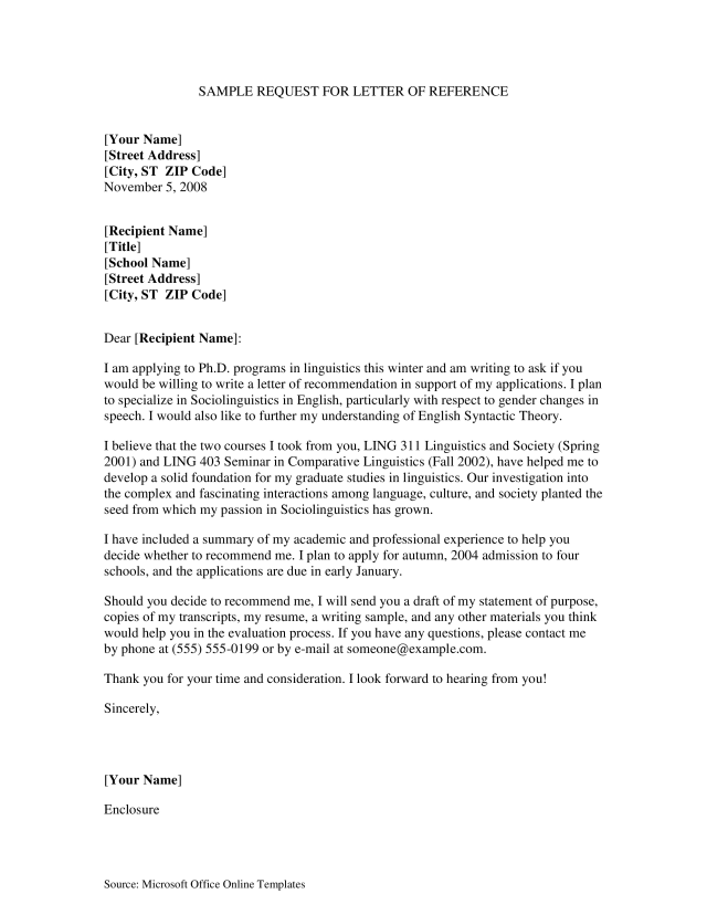 Kostenloses Reference Request Letter For Student