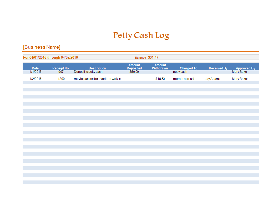 Petty Cash Log Worksheet Excel